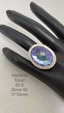 Blue Rainbow Topaz Ring Sz 8 Artisan 925 Handcrafted Sterling Silver