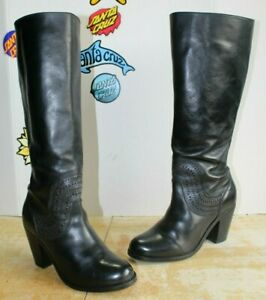ARIAT Knee High Black Leather Heel Zip Woman's Boots, Size 8.5 B
