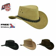 Australian Western Style Bush Cowboy Real Leather  Hat With  Chin Strap