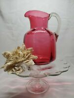 Antique Hand-Blown Cranberry Paneled Water Pitcher W/ Clear Handle - 10 Cups