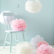 "7 PCs White Ivory Pink Tissue Paper Pom Poms Pompom Decorations Wedding (10"")"