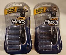 Lot of (2) BIC Flex 3 Hybrid Men's Razors [2 Handles - 10 Total Cartridges]