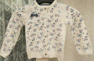 ( Ref 6377 ) Primark - Age 2 - 3 Yrs - White / Multi Long Sleeve Cotton Cardigan