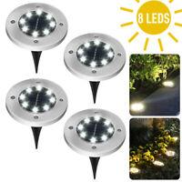 6 X 8 LED Solar Disk Lights Ground Flat Garden Lawn Deck Path Lamp Power decor-