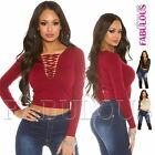 Sexy Women's Ladies Lace up Top Knitwear V-Neck Knit Top Jumper Size 8-10 S M