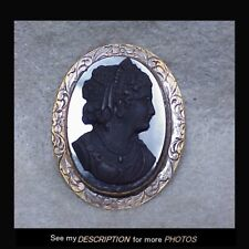 Antique Victorian 1860-70s Black Mourning Brooch Ladys Head Cameo