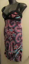 BETSEY JOHNSON NEW YORK Vintage Black Label Silk Floral Paisley SLIP DRESS M/L