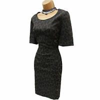 Karen Millen Black Animal Print Office Work Cocktail Shift Pencil Dress 12 UK
