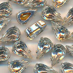 Aufnähsteine Strasssteine, 24 Stück, kristall 10 mm facettiert Glas Tropfen (07)