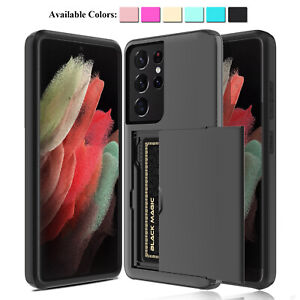 For Samsung Galaxy S21+ S21 Ultra 5G Wallet Credit Card Holder Armor Case Cover
