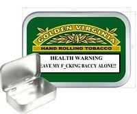 Golden Virginia Warning Silver Hinged Tobacco Tin ,Cigarette Tin,150ml
