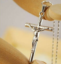 Fashion Silver Jesus Cross Necklace - Crucifix Christian Religious Jewellery