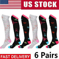 (6 Pairs) Compression Socks Knee High 20-30mmHg Graduated Mens Womens S-XXXL