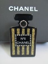 NWT Auth Chanel Number 5 Perfume Bottle Black Gold Lucite Pin Brooch w/ Box RARE