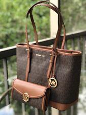 Michael Kors Women Leather Shoulder Tote Bag Purse Handbag Brown +FULTON WALLET