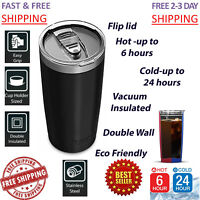 Vacuum Thermos Flip Lid 20 oz Stainless Steel Travel Mug Cup Coffee Tee Hot Cold