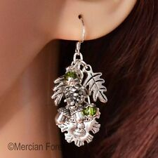 Forest Lord Greenman Earrings, .925 Silver earring hooks, Pagan, Wiccan, Witch