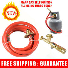 Mapp Gas Self Ignition Turbo Torch W/ Plumbing Hose Solder Propane Welding Set