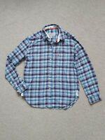 JACK WILLS Size 10 Boyfriend Fit Blue Check Shirt 100% Cotton