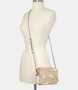 NWT COACH Mini Camera Bag Crossbody Signature Canvas with Daisy Print $278