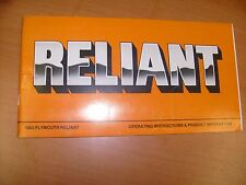 1983 Plymouth Reliant Owners Manual guide , clean Nice  !  / f7