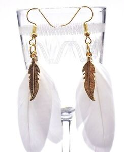 boho feather Earrings white on gold plated hooks-New handmade