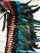 28INCH turquoise chief indian feather headdress indian warbonnet halloween hat