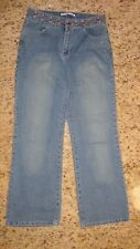 Adolfo Womens Jeans Size 8p Boot Cut Blue Jeans Floral Embellished Embroidered