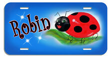 Ladybug Blue Background Auto License Plate Personalized Gifts Girls Ladies
