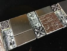Luxury Stainless Steel & Glass Mosaic Border Tile 8mm Thick F023