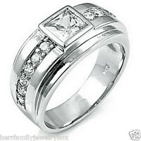 14k White Gold over .925 Sterling Silver Square cut Men's Wedding Ring Band