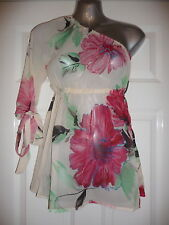 Ladies flower print cream chiffon cold shoulder top by CHILLI PEPPER  X-Small 8