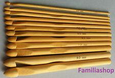 12 crochets bois bambou  tricot aiguilles laine coton taille 3 à 10 mm