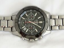 Seiko Mens Stainless Steel Black Ion Bezel Tachymeter Chronograph Date Watch