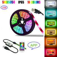 1-5M RGB LED Strip Lights Bluetooth Music Phone Control USB Dimmable Light Lamp