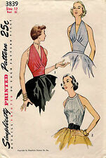 1950's VTG Simplicity Misses' Halter and Blouse Pattern 3839 Size 12