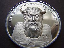 1972 THE BACCHUS BOOK OF HORRORS 999 Fine Silver High Relief Mardi Gras Doubloon