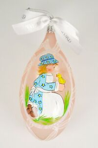 Waterford Holiday Heirloom Easter Ornament Glitter Glass Pink Hand Painted Egg