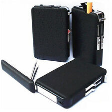 Cool Black Automatic Cigarette Case With Inbuilt Windproof Lighter Box Holder