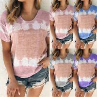 Fashion Women Ladies Short Sleeve T-Shirt Ladies Summer Gradient Tops Blouse UK