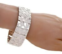 """925 Solid Sterling Silver Nugget Bracelet Adjustable 24.5mm 7-7.5"""" 49.5 grams"""