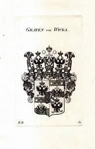 c1820 Grafen Wicka von Wickburg Adelswappen Adel Heraldik Kupferstich-Wappen