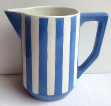 French blue and white ceramic MILK JUG signed Sarreguemines model Fox Trott 3/5