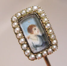 1800s 10k Miniature Portrait Seed Pearl Stick Pin Hand Painted Porcelain w/Case