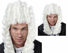 Judge Wig White Long Adults Court Costume Accessory Fancy Dress Wigs