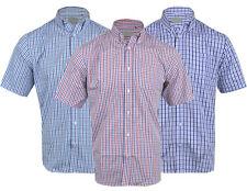 Mens Poly cotton Check Short Sleeve Shirt Soft Work Casual Button Collar M-5XL