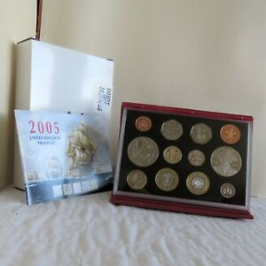 2005 UK 12 COIN DELUXE PROOF COLLECTION NELSON / TRAFALGAR - boxed/coa/outer