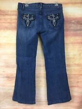 Steve & Barry's Jeans Women's 10 P Boot Cut Stretch Medium Distress Wash 32x28