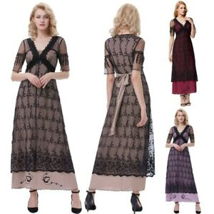 Womens Vintage Victorian 50s Lace V-neck Long Edwardian Evening Party Prom Dress