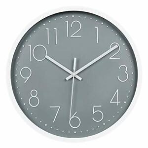 Topkey 12 inch Silent Wall Clock - Arabic Numeral Clock for Living Room (Grey)